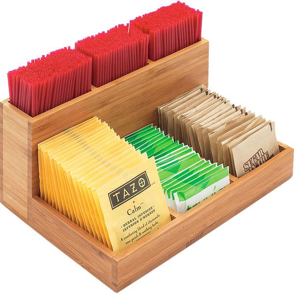 "Cal-Mil 796-60 Bamboo Packet / Stirrer Organizer - 9"" x 6 1/4"" x 4 1/2"" Main Image 1"
