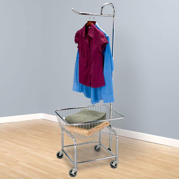 Chrome Wire Laundry Cart with Valet Hanger and Basket