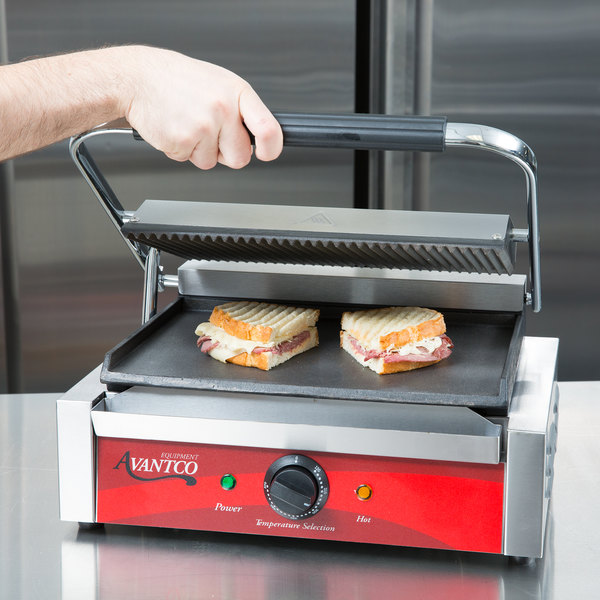 """Avantco P75SG Commercial Panini Sandwich Grill with Grooved Top and Smooth Bottom Plates - 13"""" x 8 3/4"""" Cooking Surface - 120V, 1750W Main Image 5"""