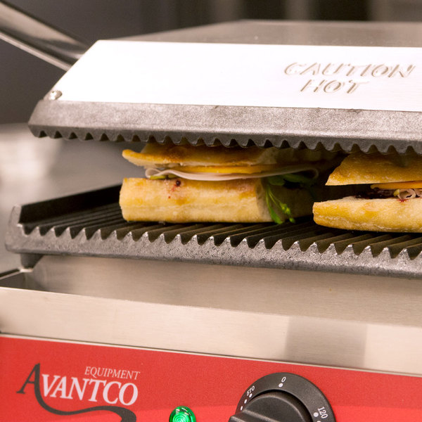 """Avantco P78 Grooved Commercial Panini Sandwich Grill - 13"""" x 8 3/4"""" Cooking Surface - 120V, 1750W"""