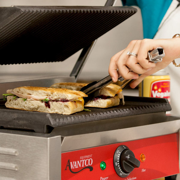 "Avantco P78 Commercial Panini Sandwich Grill with Grooved Plates - 13"" x 8 3/4"" Cooking Surface - 120V, 1750W Main Image 4"