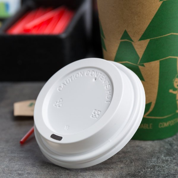 Choice 10 to 20 oz. White Hot Paper Cup Travel Lid - 1000/Case