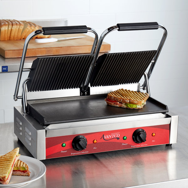 "Avantco P88SG Double Commercial Panini Sandwich Grill with Grooved Top and Smooth Bottom Plates - 18 3/16"" x 9 1/16"" Cooking Surface - 120V, 3500W Main Image 5"
