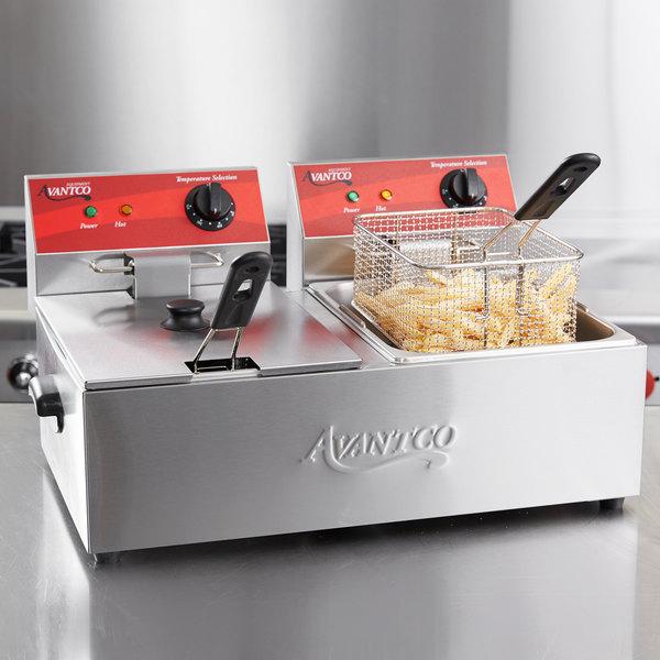 Avantco F102 20 lb. Dual Tank Electric Countertop Fryer - 120V, 3500W Main Image 4