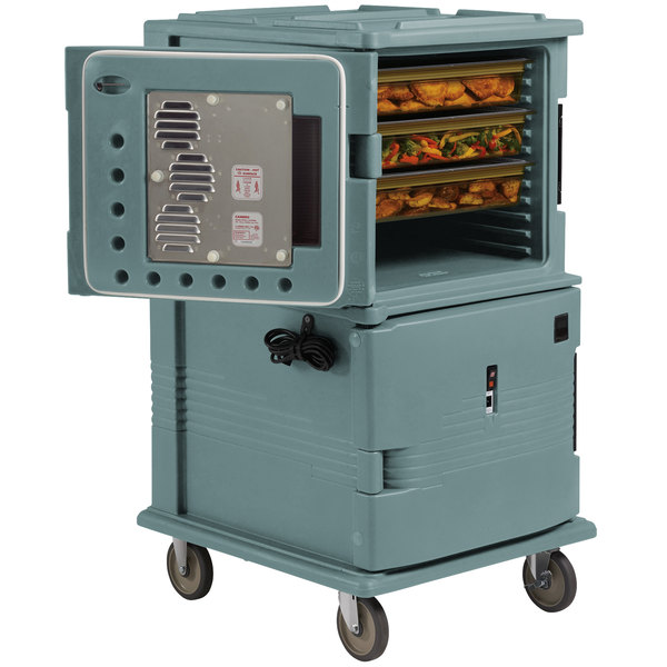 Cambro UPCHT1600401 Slate Blue Ultra Camcart Two Compartment Heated Holding Pan Carrier with Casters, Top Compartment Heated - 110V