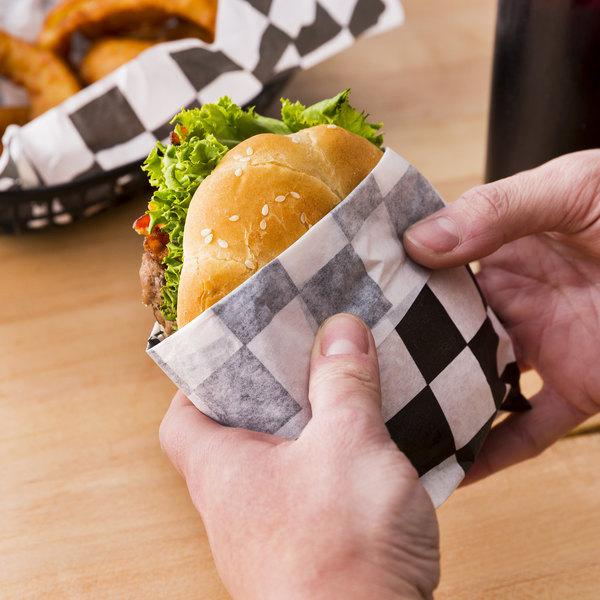 "Choice 12"" x 12"" Black Check Deli Sandwich Wrap Paper - 1000/Pack Main Image 3"