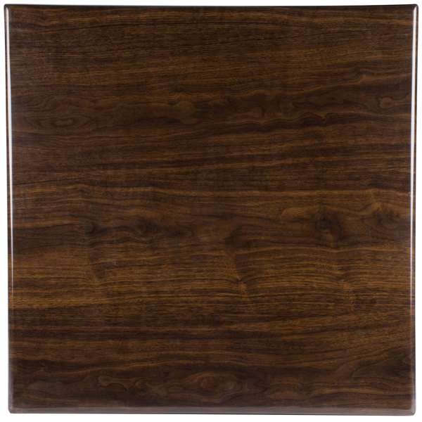 "BFM Seating TTRSN3636WA Resin 36"" Square Indoor Tabletop - Walnut"