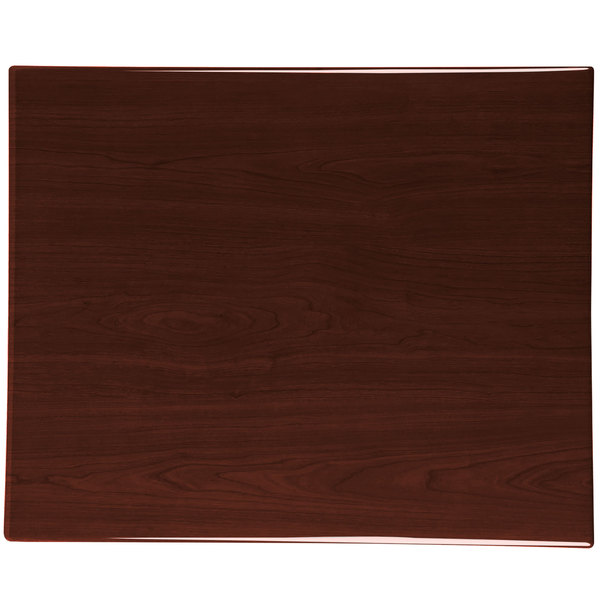 "BFM Seating TTRS2430WA Resin 24"" x 30"" Rectangular Indoor Tabletop - Walnut"