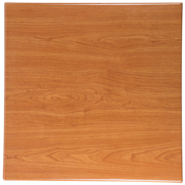 """BFM Seating TTRSN3030CH Resin 30"""" Square Indoor Tabletop - Cherry Main Image 1"""