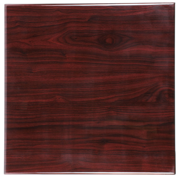 """BFM Seating TTRSN3636MH Resin 36"""" Square Indoor Tabletop - Mahogany"""