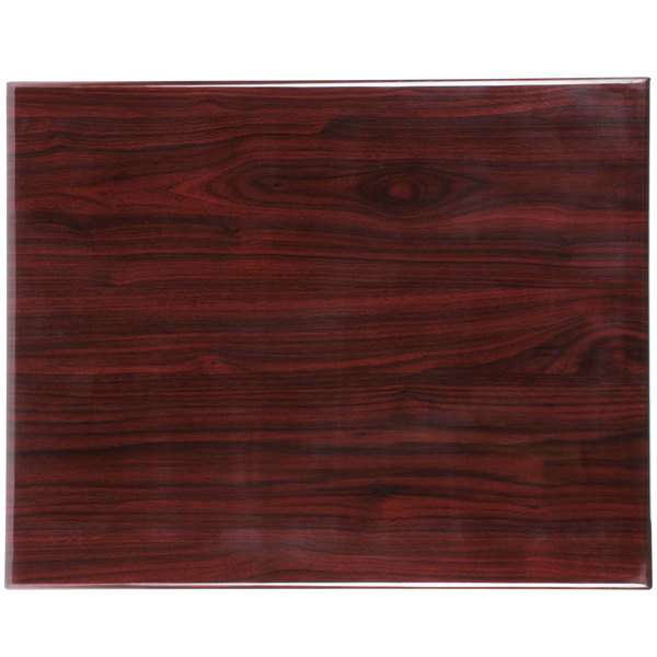 "BFM Seating TTRSN3042MH Resin 30"" x 42"" Rectangular Indoor Tabletop - Mahogany Main Image 1"