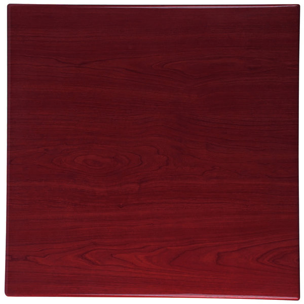"BFM Seating TTRSN2424MH Resin 24"" Square Indoor Tabletop - Mahogany Main Image 1"