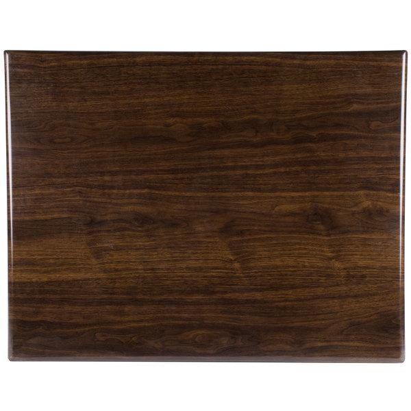 "BFM Seating TTRSN3042WA Resin 30"" x 42"" Rectangular Indoor Tabletop - Walnut Main Image 1"