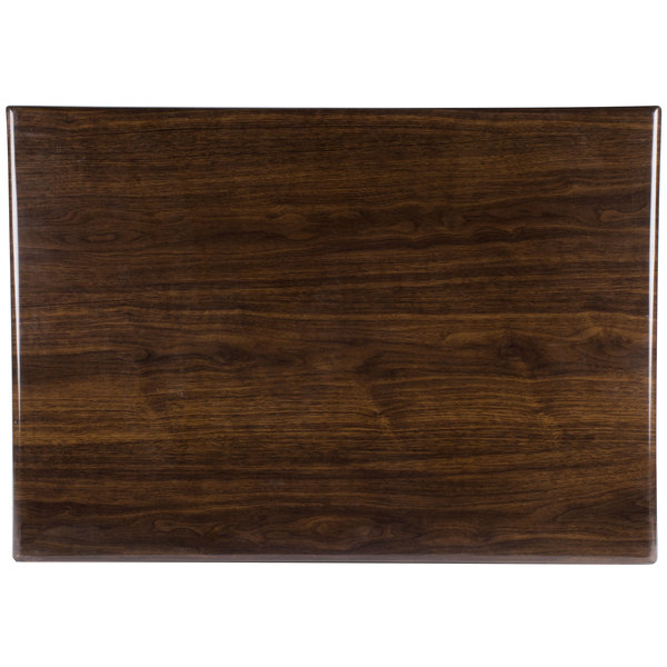 "BFM Seating WARS3048 Resin 30"" x 48"" Rectangular Indoor Tabletop - Walnut"