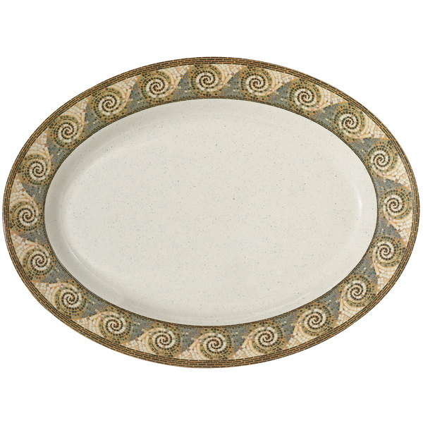"GET OP-621-MO Mosaic 21"" x 15"" Melamine Oval Platter - 12/Pack Main Image 1"