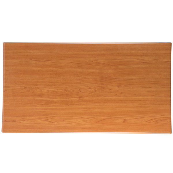 "BFM Seating TTRSN3060CH Resin 30"" x 60"" Rectangular Indoor Tabletop - Cherry Main Image 1"