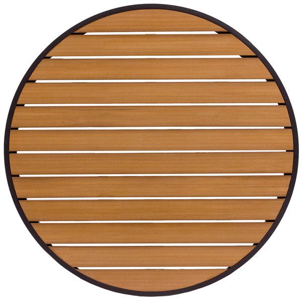 "BFM Seating PH32RTKBLU Longport 32"" Round Outdoor / Indoor Tabletop with Black Frame - Synthetic Teak"