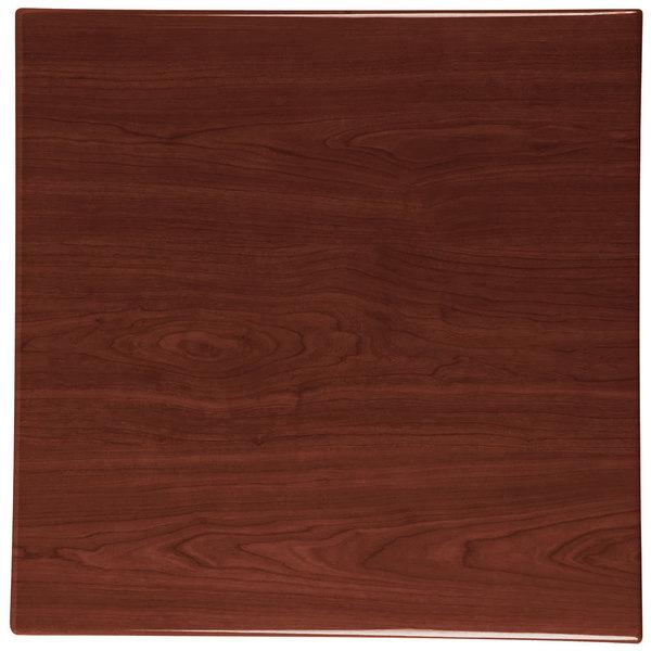 "BFM Seating TTRSN2424WA Resin 24"" Square Indoor Tabletop - Walnut"