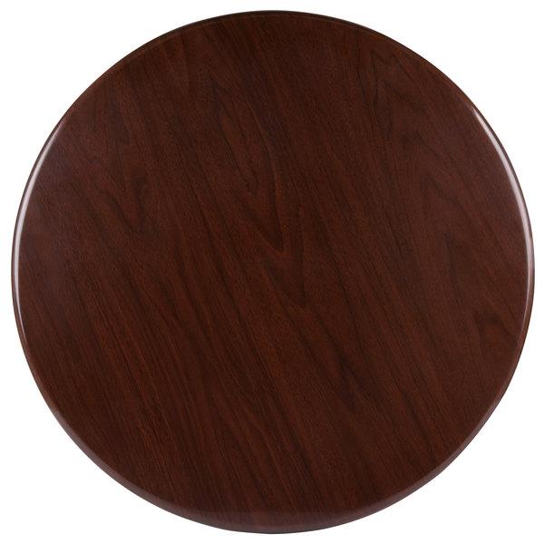 "BFM Seating TTRSN30RWA Resin 30"" Round Indoor Tabletop - Walnut"