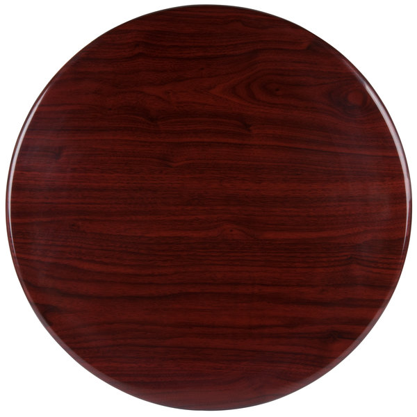 "BFM Seating TTRSN30RMH Resin 30"" Round Indoor Tabletop - Mahogany"