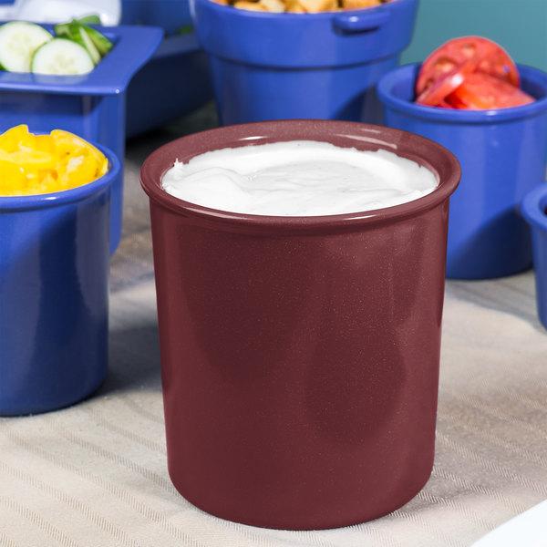 Tablecraft CW1680MAS 2.5 Qt. Maroon Speckle Cast Aluminum Salad Dressing Bowl