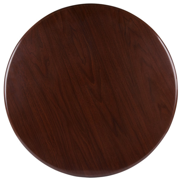 "BFM Seating TTRS24RWA Resin 24"" Round Indoor Tabletop - Walnut"