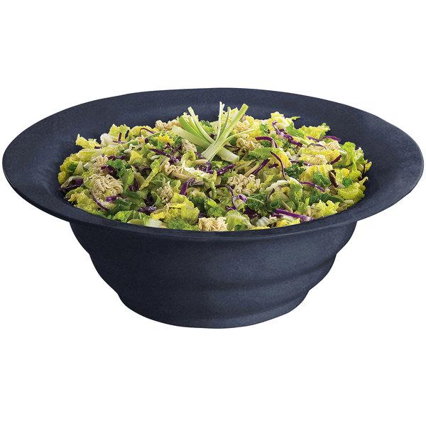 Tablecraft CW3120MBS 10 Qt. Midnight with Blue Speckle Cast Aluminum Wide Rim Salad Bowl
