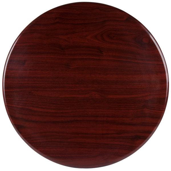 "BFM Seating TTRSN24RMH Resin 24"" Round Indoor Tabletop - Mahogany Main Image 1"