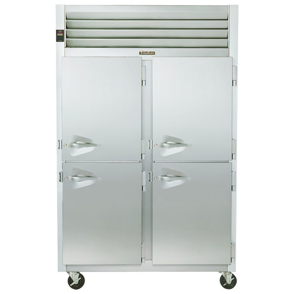 Traulsen G24302 Solid Half Door 2 Section Hot Food Holding Cabinet with Right Hinged Doors Main Image 1
