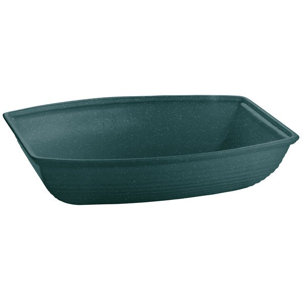 Tablecraft CW3195HGNS 8 Qt. Hunter Green with White Speckle Cast Aluminum Oblong Salad Bowl