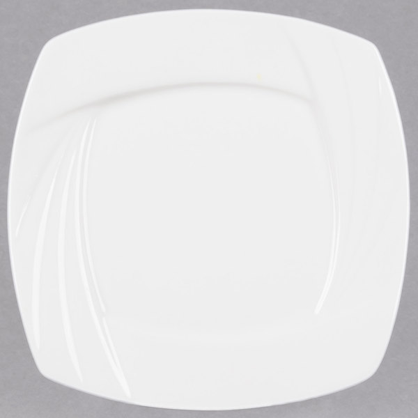 "CAC GAD-SQ8 Garden State 8 1/2"" Bone White Square Porcelain Plate - 24/Case Main Image 1"