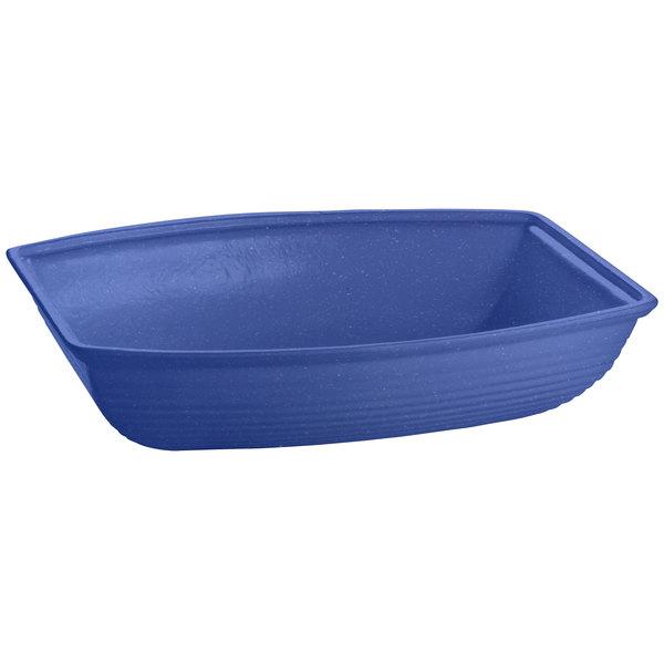 Tablecraft CW3195BS 8 Qt. Blue Speckle Cast Aluminum Oblong Salad Bowl