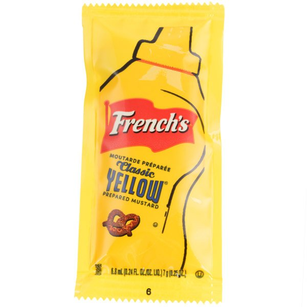 French's Classic Yellow Mustard - (200) 7 Gram Portion Packets / Case  - 200/Case
