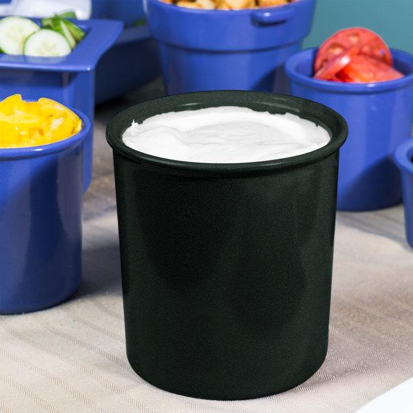 Tablecraft CW1680BKGS 2.5 Qt. Black with Green Speckle Cast Aluminum Salad Dressing Bowl
