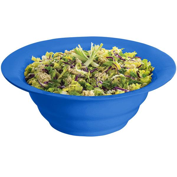 Tablecraft CW3120CBL 10 Qt. Cobalt Blue Cast Aluminum Wide Rim Salad Bowl