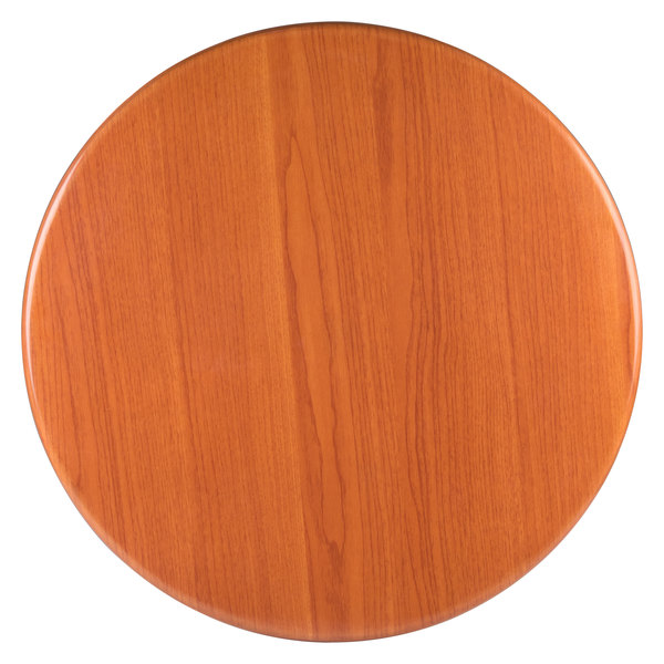 """BFM Seating TTRS24RCH Resin 24"""" Round Indoor Tabletop - Cherry Main Image 1"""