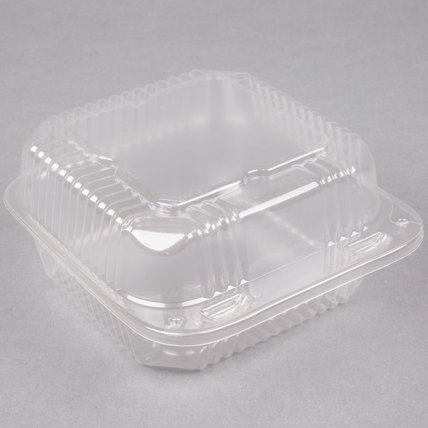 Durable Packaging PXT-600 Duralock 6 inch x 6 inch x 3 inch Clear Hinged Lid Plastic Container - 500/Case