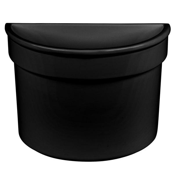 Tablecraft CW1312BK 5 Qt. Black Cast Aluminum Half Soup Bowl