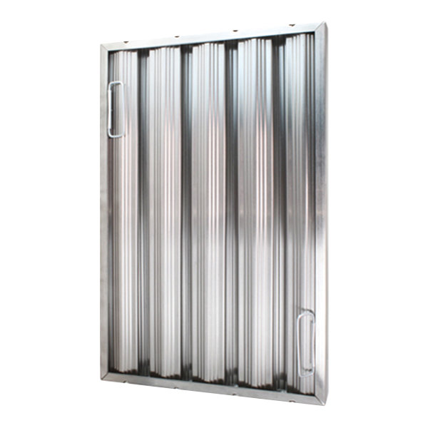 """All Points 26-3896 25""""(H) x 16""""(W) x 2""""(T) Stainless Steel Hood Filter - Ridged Baffles Main Image 1"""