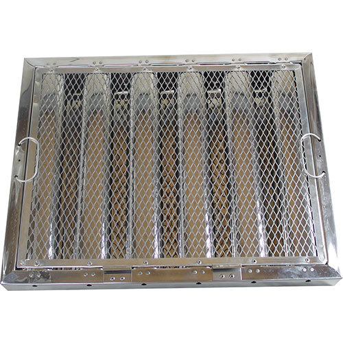 """FMP 129-2122 16""""(H) x 20""""(W) x 2""""(T) Stainless Steel Hood Filter with Hook and Spark Arrestor Main Image 1"""