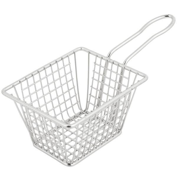 "5"" x 4"" x 3"" Rectangular Stainless Steel Fry Basket"