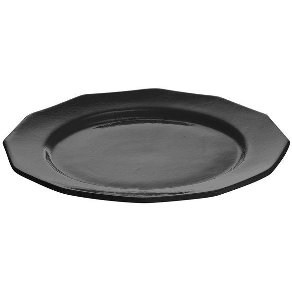 "Tablecraft CW1795BK 13"" Black Cast Aluminum Round Prism Plate"