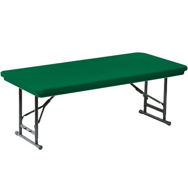 "Correll Adjustable Height Folding Table, 30"" x 72"" Plastic, Green - Short Legs - R-Series RA3072S"