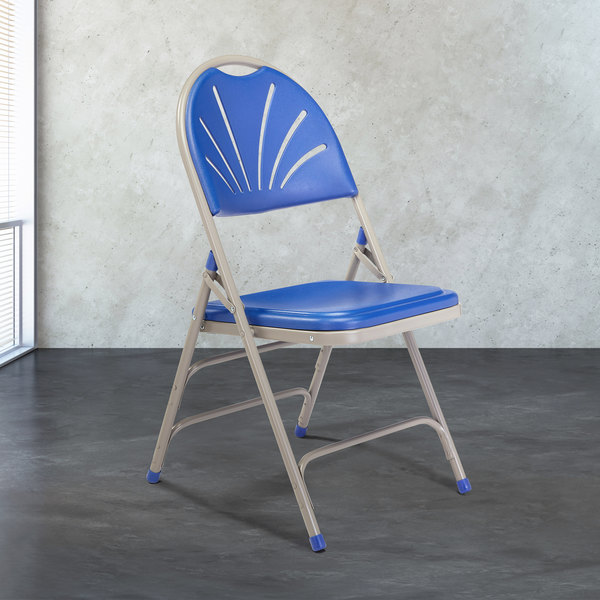 National Public Seating 1105 Gray Metal Folding Chair with Blue Plastic Seat Main Image 3