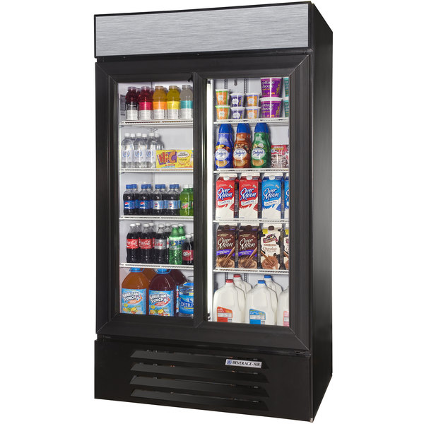 "Beverage-Air LV38HC-1-B LumaVue 43"" Black Refrigerated Glass Door Merchandiser with LED Lighting"