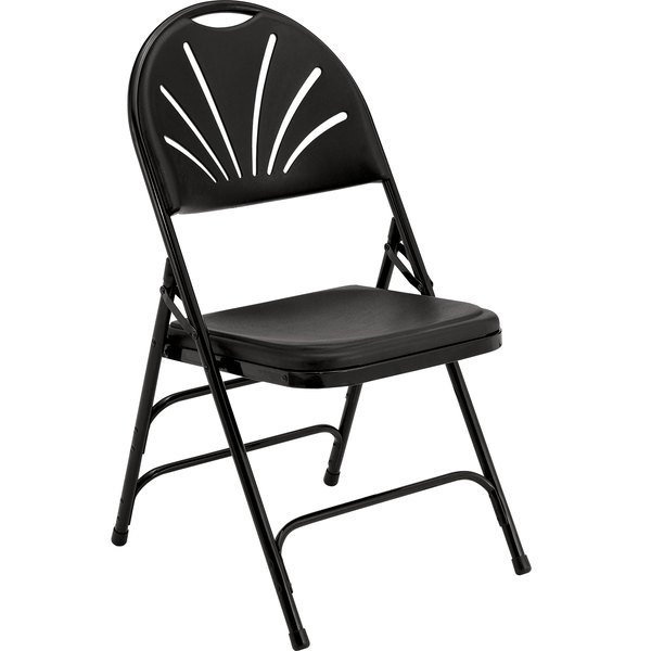 National Public Seating 1110 Black Metal Folding Chair with Black Plastic Seat