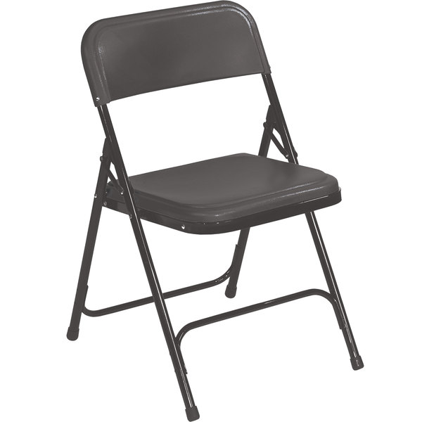 National Public Seating 810 Black Metal Folding Chair With