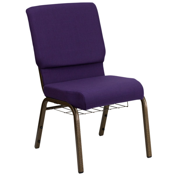 "Flash Furniture FD-CH02185-GV-ROY-BAS-GG Royal Purple 18 1/2"" Wide Church Chair with Communion Cup Book Rack - Gold Vein Frame Main Image 1"