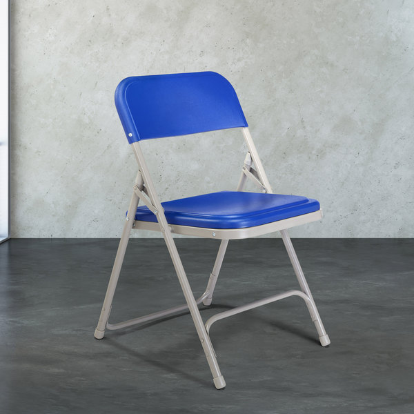 National Public Seating 805 Gray Metal Folding Chair with Blue Plastic Seat Main Image 3