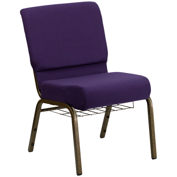 """Flash Furniture FD-CH0221-4-GV-ROY-BAS-GG Royal Purple 21"""" Extra Wide Church Chair with Communion Cup Book Rack - Gold Vein Frame"""